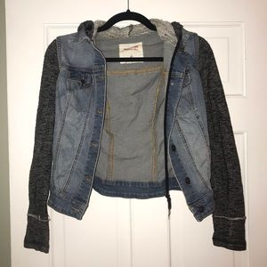 Juniors XS Mossimo distressed jean jacket / hoodie